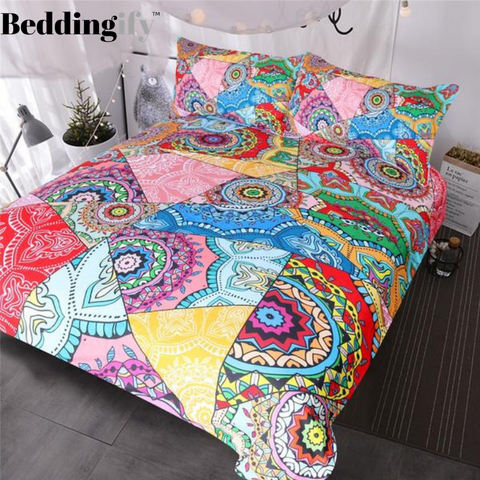 Image of Flowers Patchwork Boho Bedding Set - Beddingify