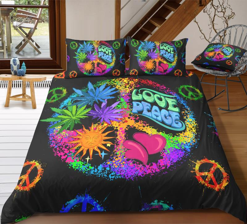 Black Flowers Peace and Love Symbol Bedding Set - Beddingify