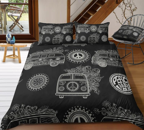 Black Peace and Love Bus Bedding Set - Beddingify