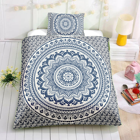 Image of Black and Blue Mandala Bedding Set - Beddingify