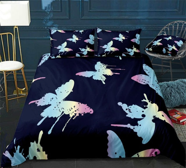 Pink Blue Butterfly Bedding Set - Beddingify