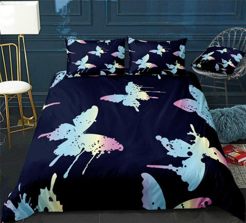 Image of Pink Blue Butterfly Bedding Set - Beddingify