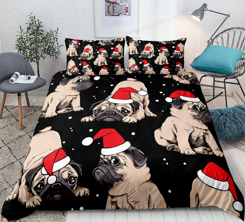 Image of Christmas Pug Bedding Set - Beddingify