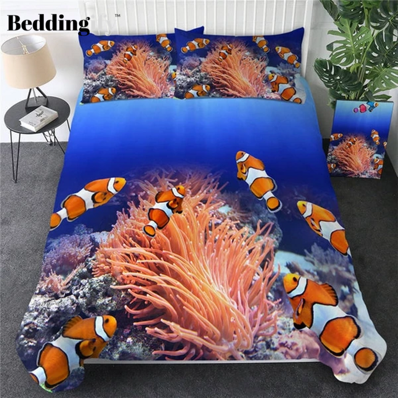 Clown fish 3D Ocean Coral Duvet Bedding Set - Beddingify