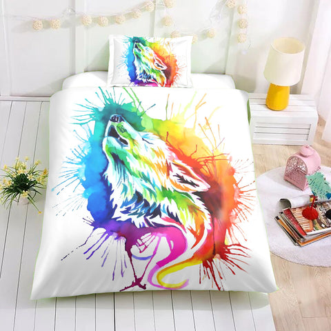 Image of Colorful Howling Wolf Bedding Set - Beddingify