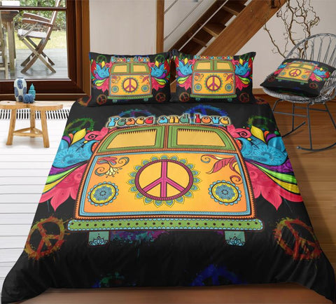 Colorful Peace and Love Bus Bedding Set - Beddingify