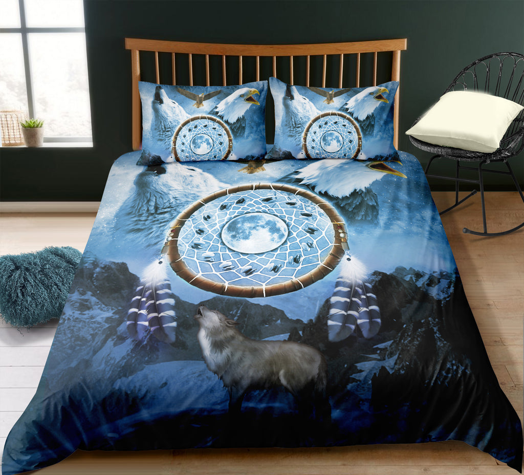 Dreamcathcer Eagle and Wolf Bedding Set - Beddingify