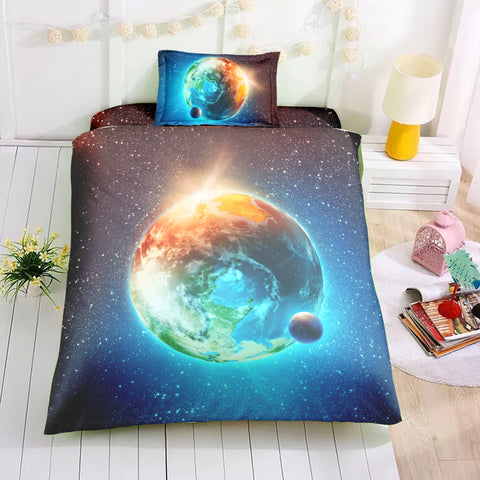 Image of Earth and Moon Bedding Set - Beddingify