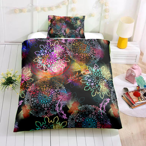 Floral Tie-dye Mandala Pattern Bedding Set - Beddingify