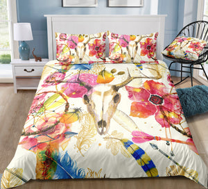 Flower Tribal Head Dreamcatcher Bedding Set - Beddingify