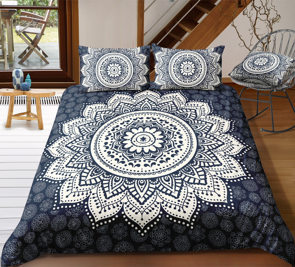 Flowers Black White Mandala Pattern Bedding Set - Beddingify