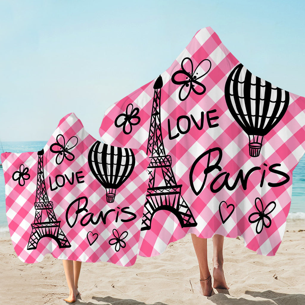 Love Paris Pink Plaid Hooded Towel