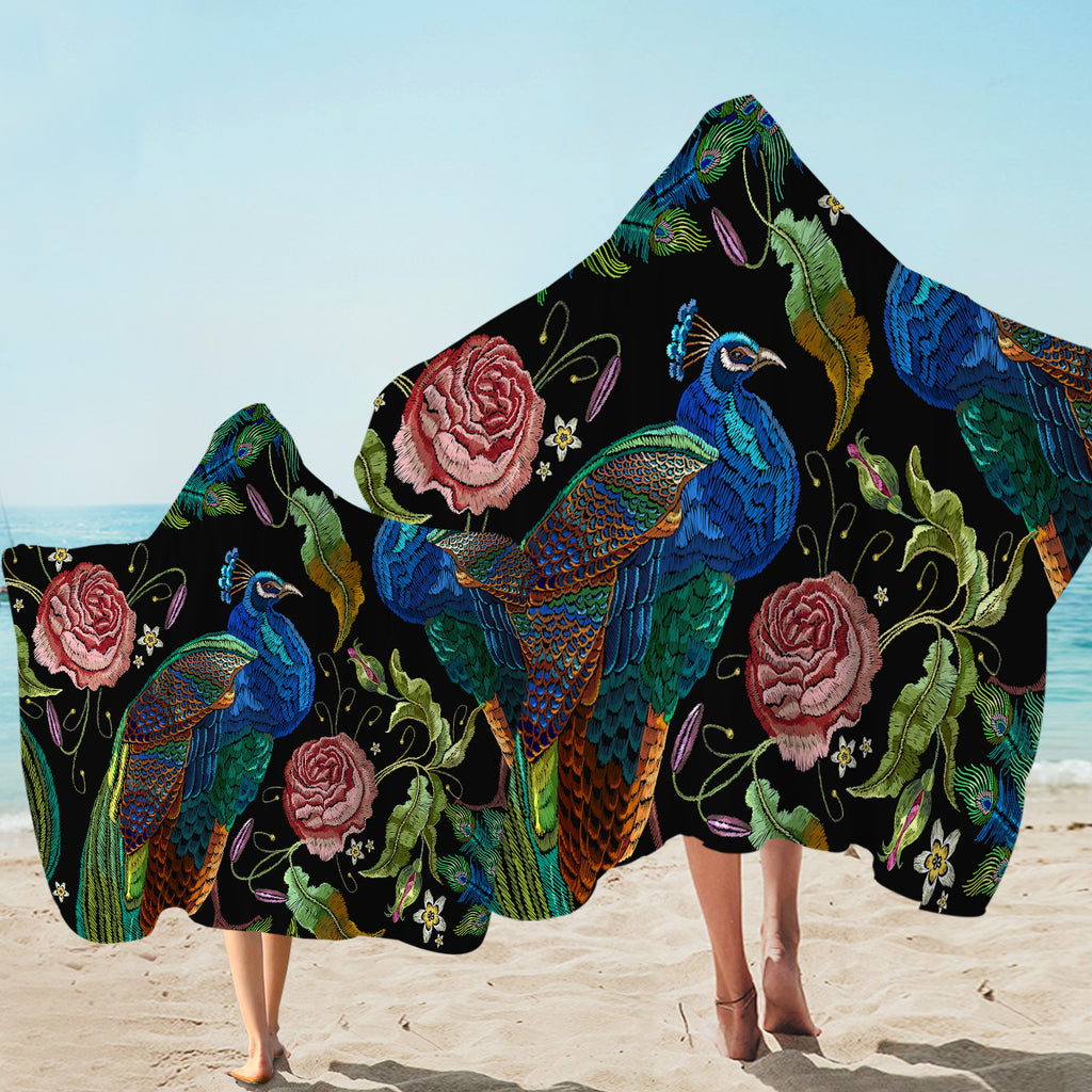 Embroidered Peacock Hooded Towel