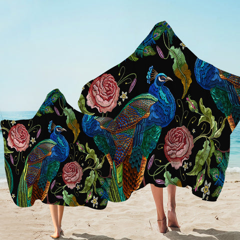 Image of Embroidered Peacock Hooded Towel