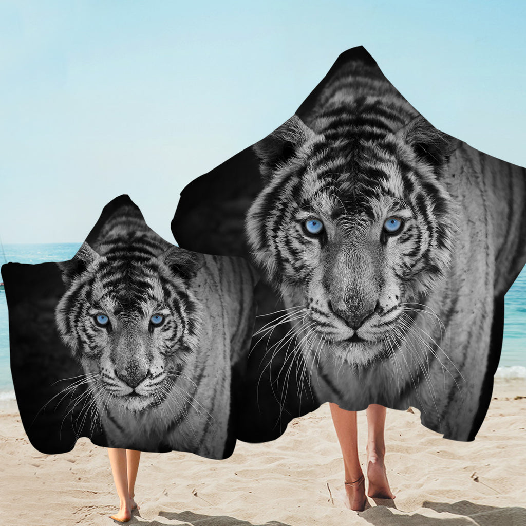 Blue Eye White Tiger Hooded Towel