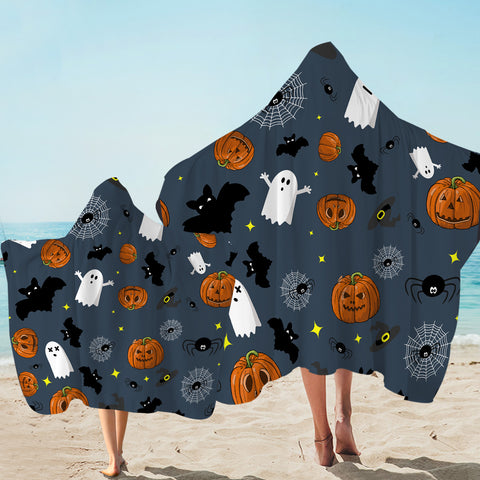 Image of Spooky Patterned Halloween Hooded Towel