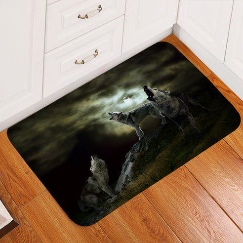 Image of Wolf Howling Eclipse Door Mat