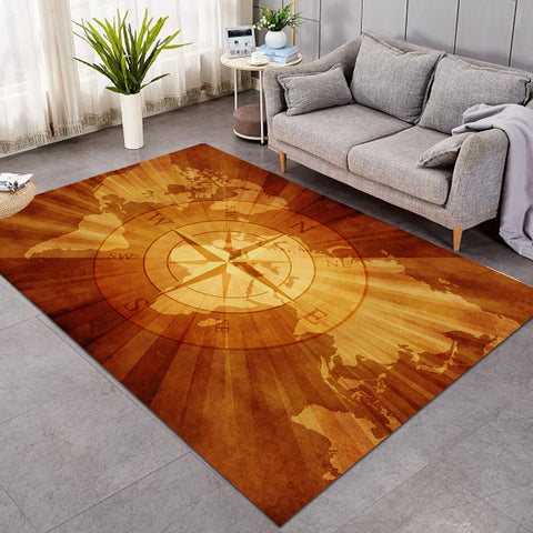Image of World's Map Compass GWBJ14399 Rug