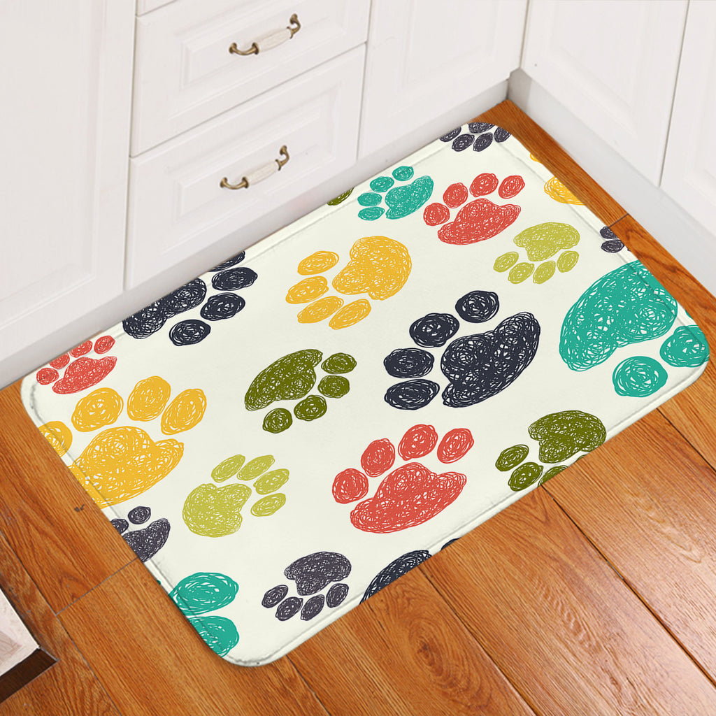 Colorful Paw Prints Door Mat
