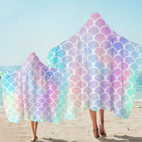 Image of Rainbow Fish Scale Patterns Hooded Towel