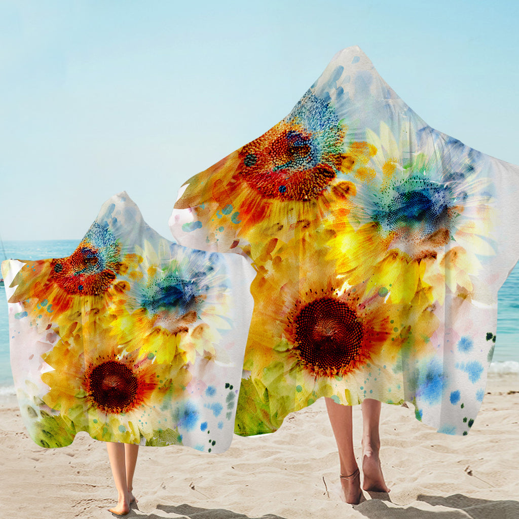 Watercolored Sunflowers Hooded Towel