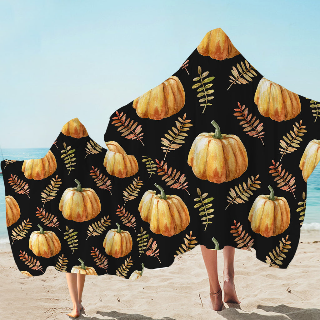 Pumpkin Patterns Hooded Towel