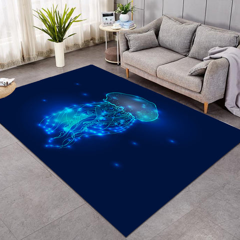 Image of Blue Glowing Jellyfish GWBJ15502 Rug