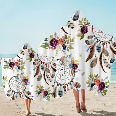 Image of Floral Dreamcatcher Hooded Towel