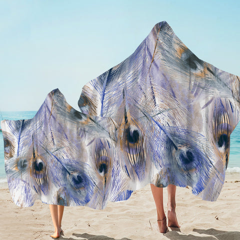 Image of Peacock Feather Hooded Towel