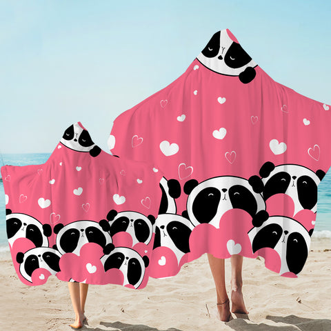 Image of Lovely Pandas Hooded Towel