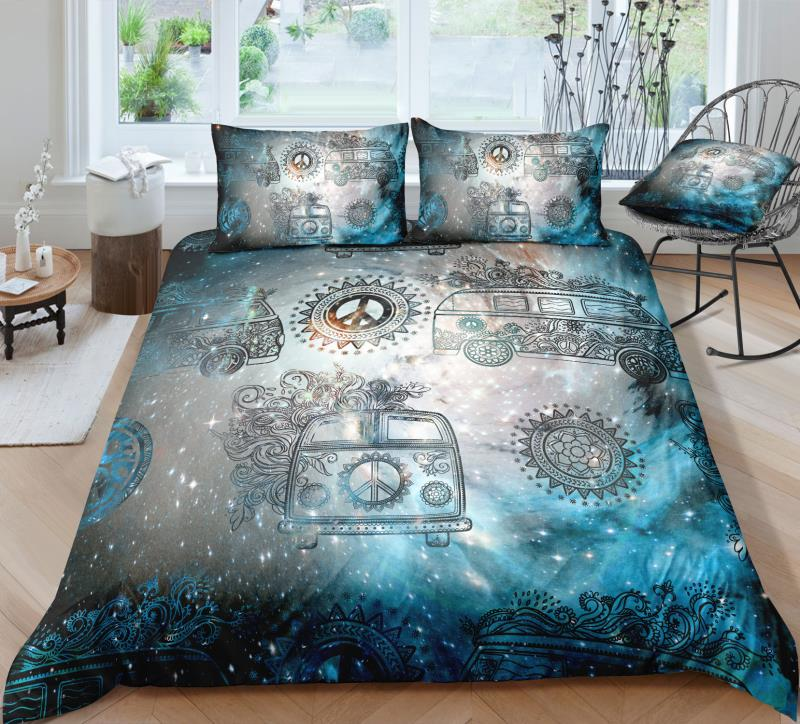 Galaxy Peace and Love Bus Bedding Set - Beddingify