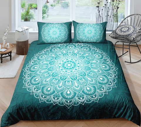 Image of Green White Mandala Pattern Bedding Set - Beddingify