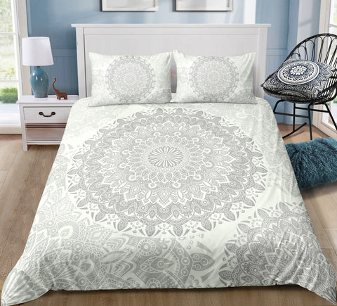 Grey Mandala Pattern Bedding Set - Beddingify