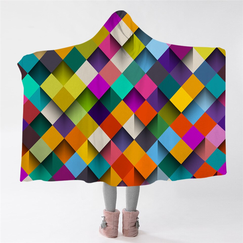 Colored Diamonds Hooded Blanket