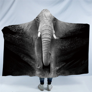 3D Elephant B&W Hooded Blanket