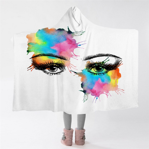 Image of Colorspray Eyes Hooded Blanket
