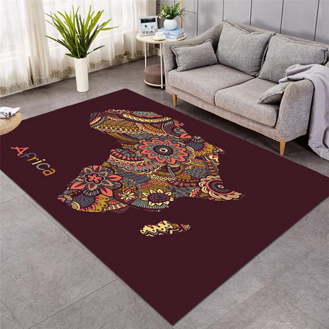 Image of Mandala Motif Africa Continent Rug