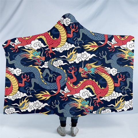 Oriental Dragon Hooded Blanket