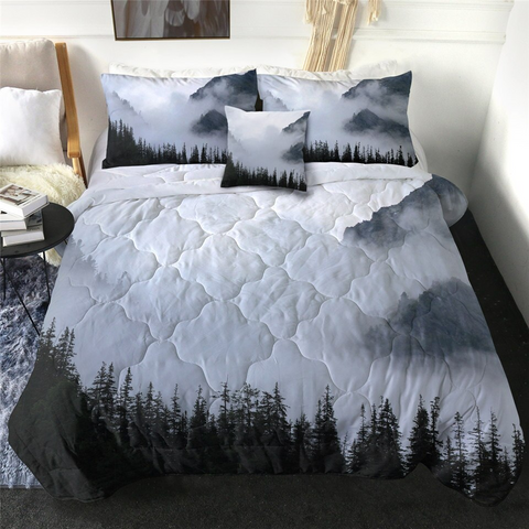 4 Pieces Foggy Forest Comforter Set - Beddingify