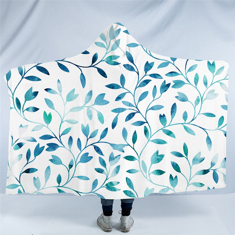 Image of Aqua Branches White Hooded Blanket