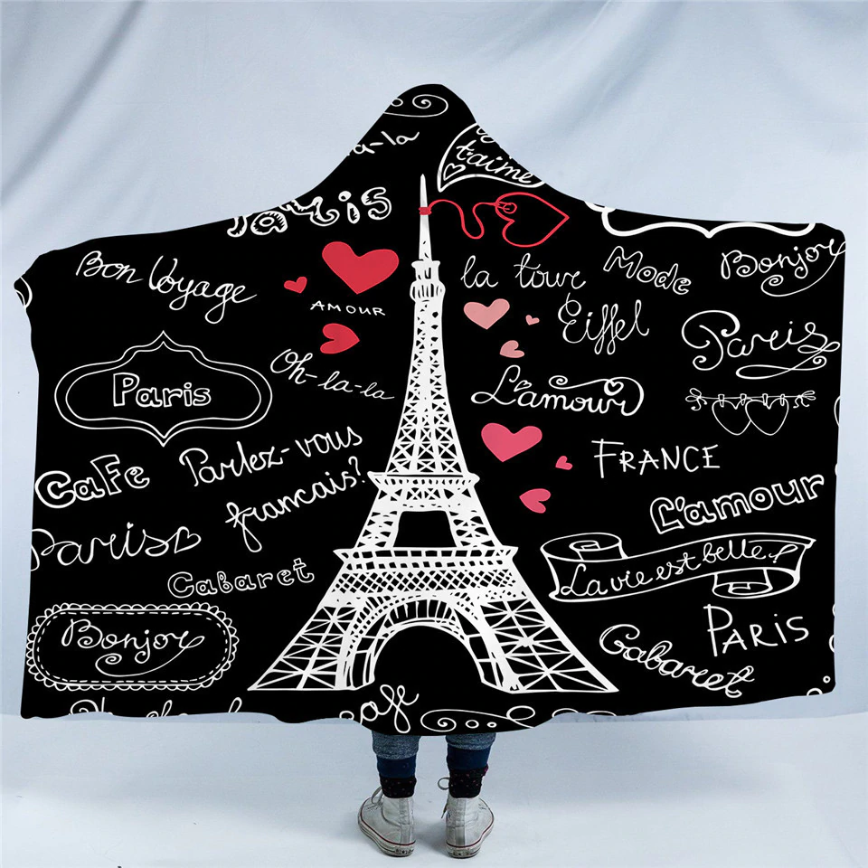 Eiffel Love Quotes Hooded Blanket