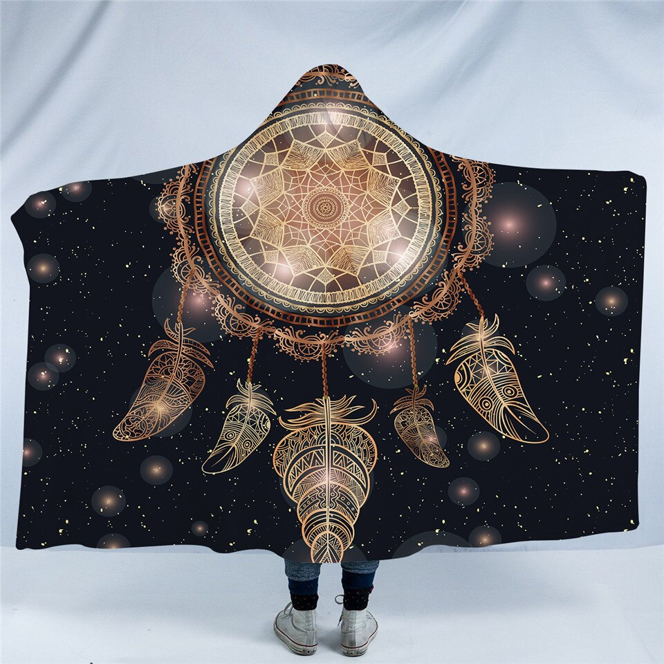 Cosmic Dream Catcher Galaxy Hooded Blanket