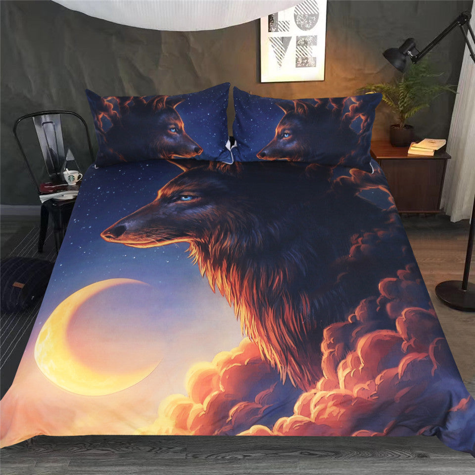 Wolf And The Moon by JoJoesArt Bedding Set - Beddingify