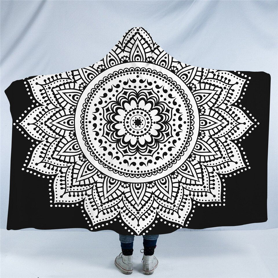 Concentric White Mandala Hooded Blanket