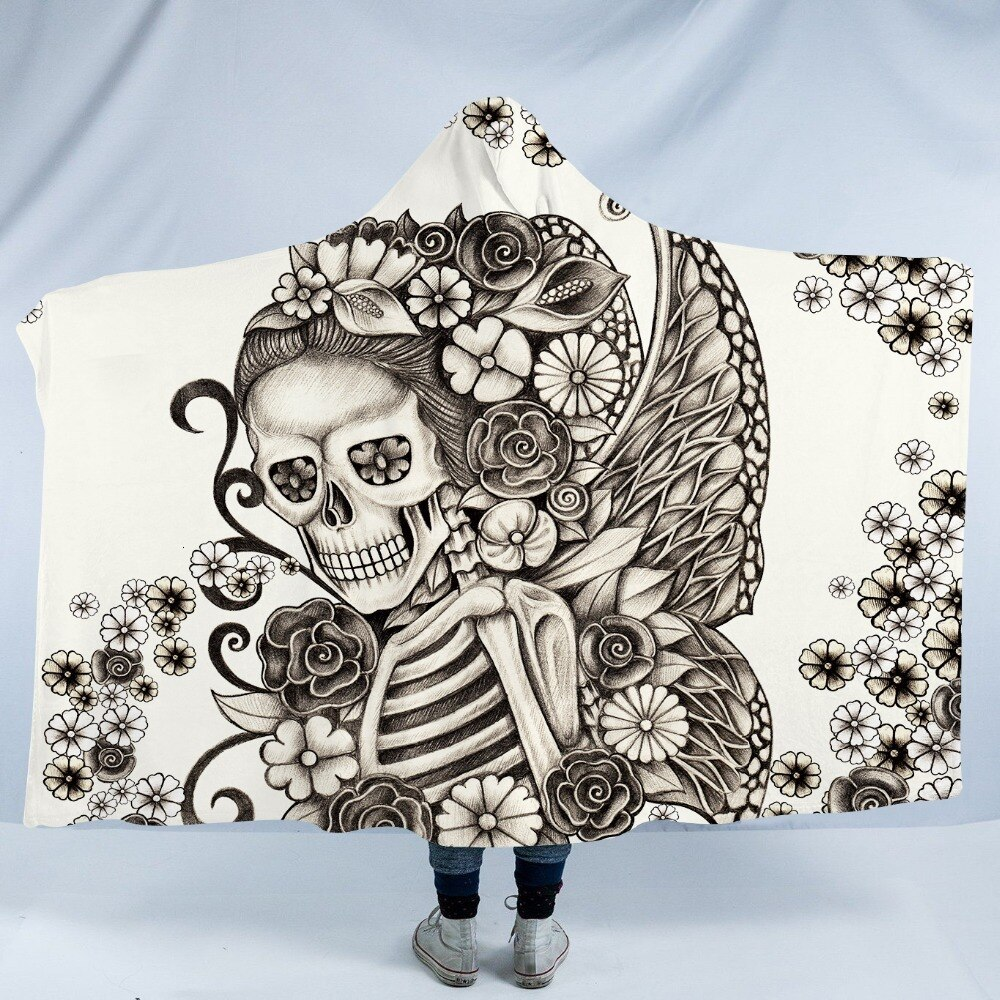 Stylized Skeleton Hooded Blanket