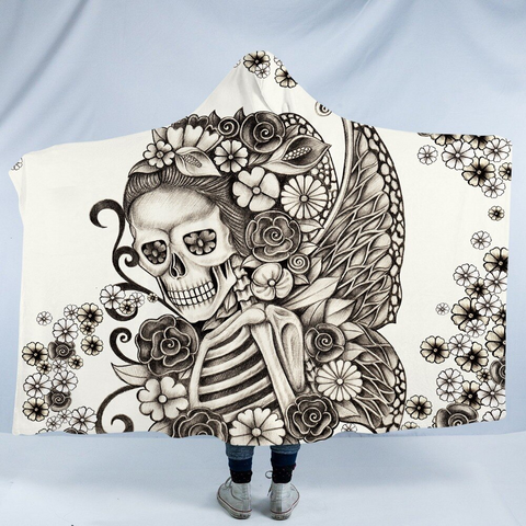 Image of Stylized Skeleton Hooded Blanket