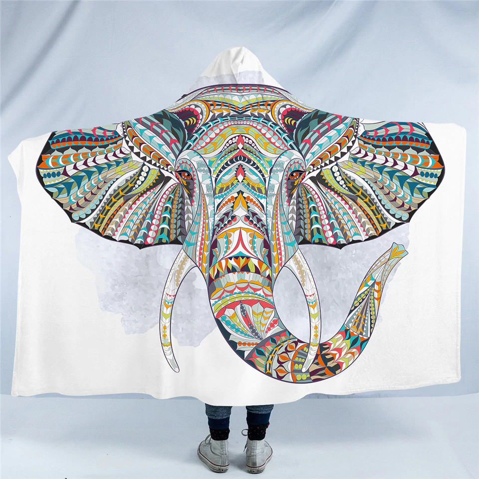 Stylized Elephant Head Hooded Blanket