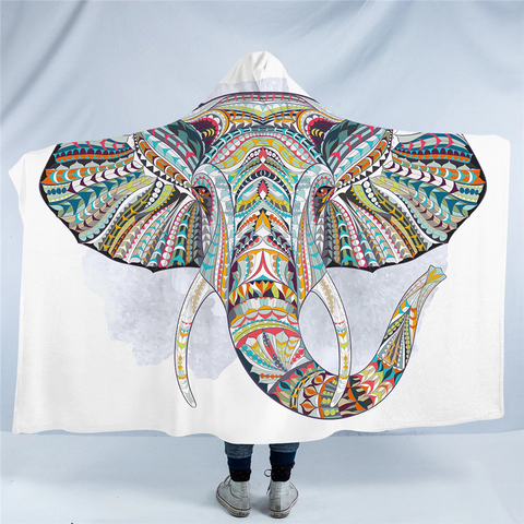 Image of Stylized Elephant Head Hooded Blanket