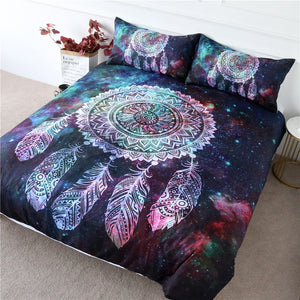 Green Red Nebula Dreamcatcher Bedding Set - Beddingify