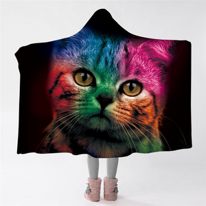 Curious Cat Black Hooded Blanket
